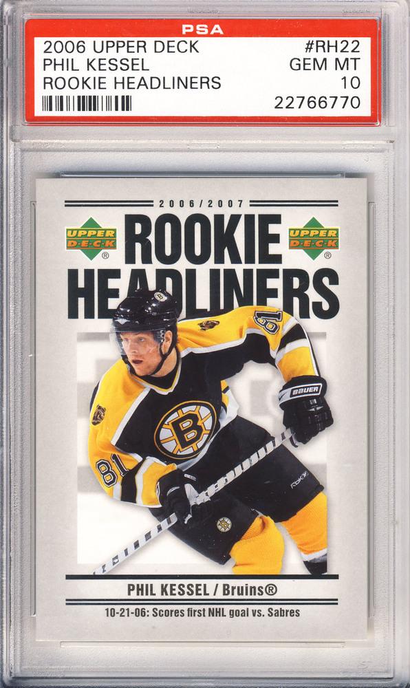 2006 UD Rookie Headliners #RH22 PHIL KESSEL Boston Bruins Graded Rookie Card - GEM-MT PSA 10 (Toronto Maple Leafs)