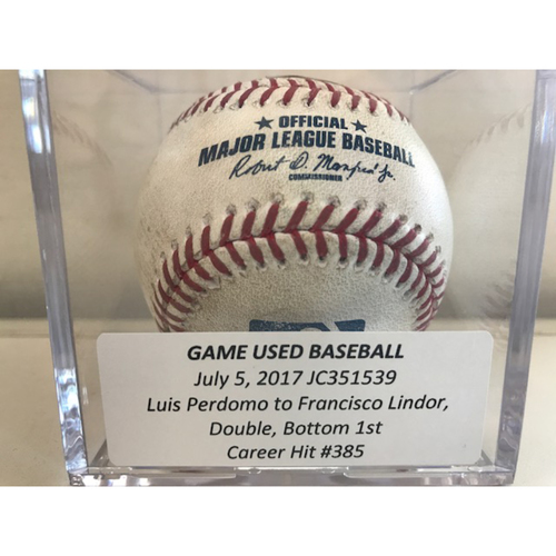 Photo of Game-Used Baseball: Francisco Lindor Double, Career Hit #385