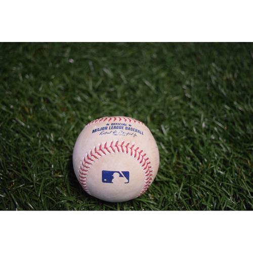 Photo of Game-Used Baseball: Carlos Santana single off Steve Cishek - 8/13/17 v CLE
