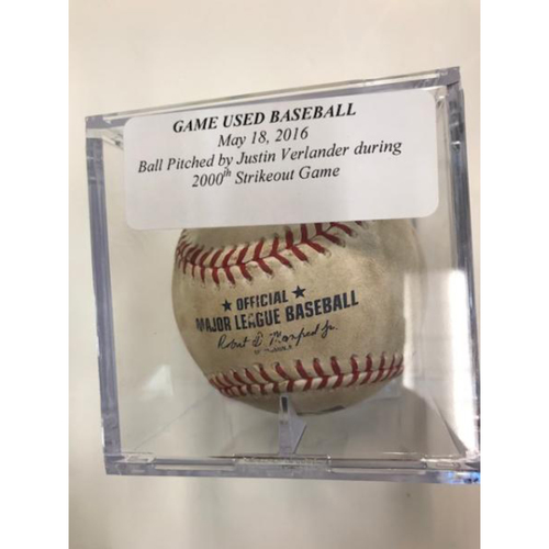 Photo of Game-Used Baseball: Pitched by Justin Verlander During His  2,000th Strikeout Game