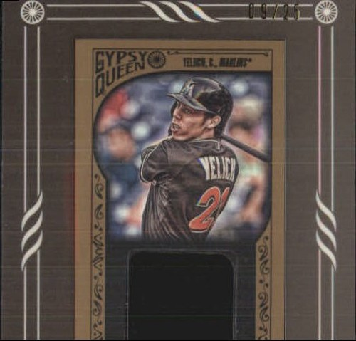 Photo of 2015 Topps Gypsy Queen Framed Mini Relics Gold #GMRCY Christian Yelich
