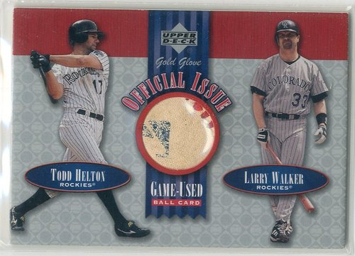 Photo of 2001 Upper Deck Gold Glove Official Issue Game Ball #OIHW Todd Helton/Larry Walker