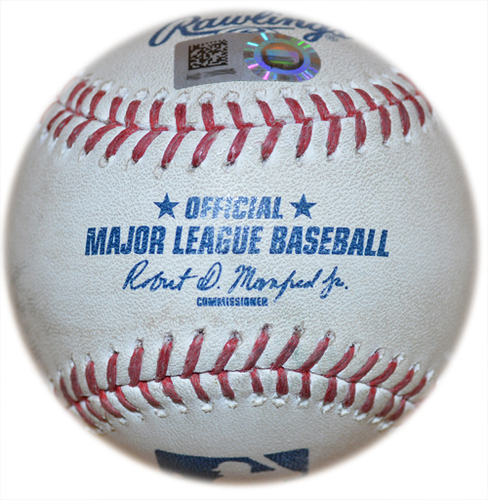 Photo of Royals at Yankees 5-10-2016 Game Used Baseball (Batter - Cheslor Cuthbert, Pitcher - Aroldis Chapman, Top of 9, Fouled Back to Screen, 100mph Pitch)