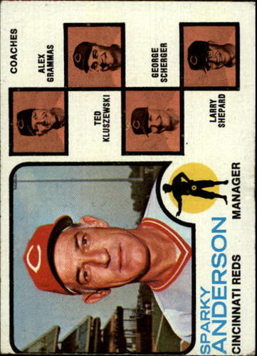 Photo of 1973 Topps #296 Sparky Anderson MG/Alex Grammas CO/Ted Kluszewski CO/George Scherger CO/Larry Shepar