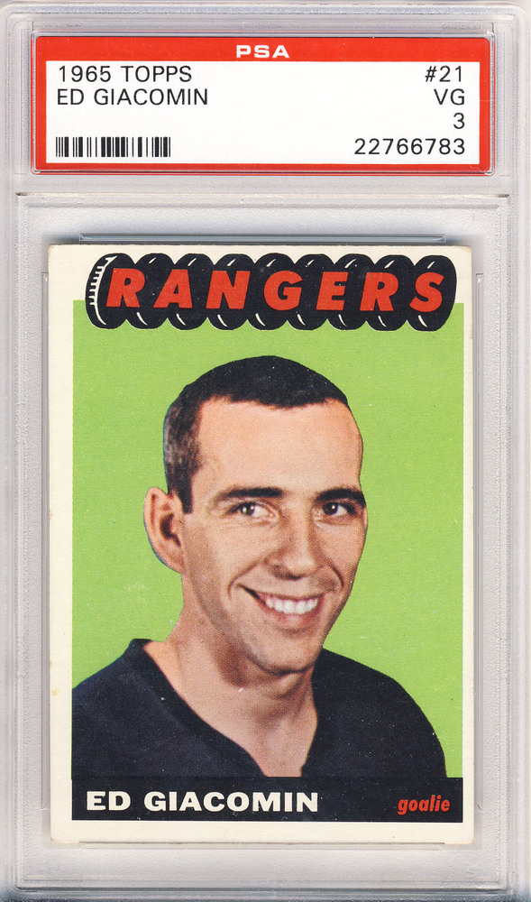 1965 OPC #21 ED GIACOMIN New York Rangers Graded Rookie Card - VG PSA 3