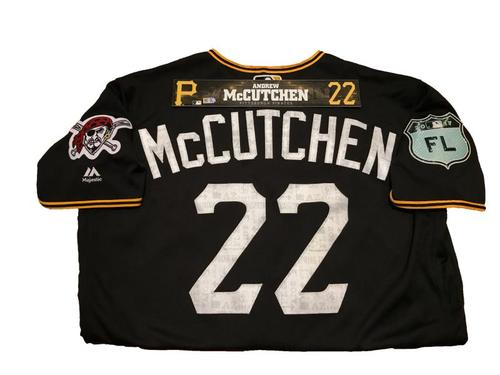 Photo of Andrew McCutchen Team-Issued Spring Training Jersey and Game-Used Locker Name Plate