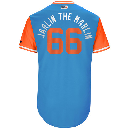 "Photo of Jarlin ""Jarlin The Marlin"" Garcia Miami Marlins Game-Used Players Weekend Jersey"