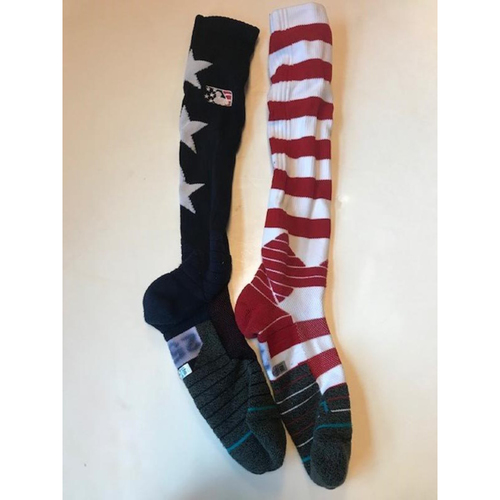Photo of Game-Used David Clark Stars and Stripes Socks