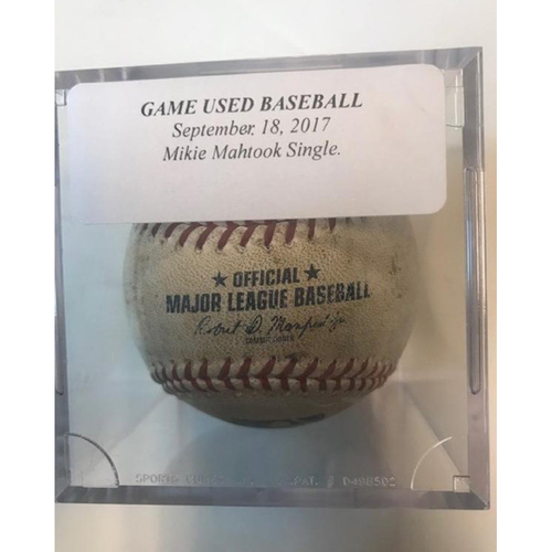 Game-Used Baseball: Mikie Mahtook Single