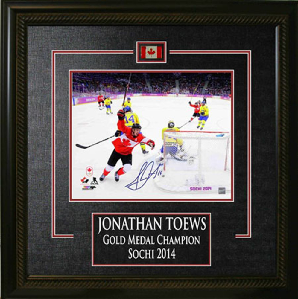 Jonathan Toews - Signed & Framed 8x10 Etched Mat - Team Canada 2014 Sochi Olympics