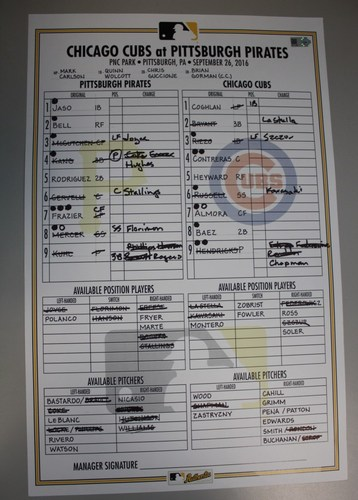 Photo of Game Used Lineup Card from Pirates vs. Cubs on 9/26/2016 - Cubs Win 100th Game of Season