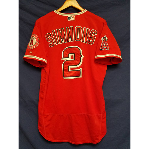 Andrelton Simmons Game-Used Alternate Red Jersey
