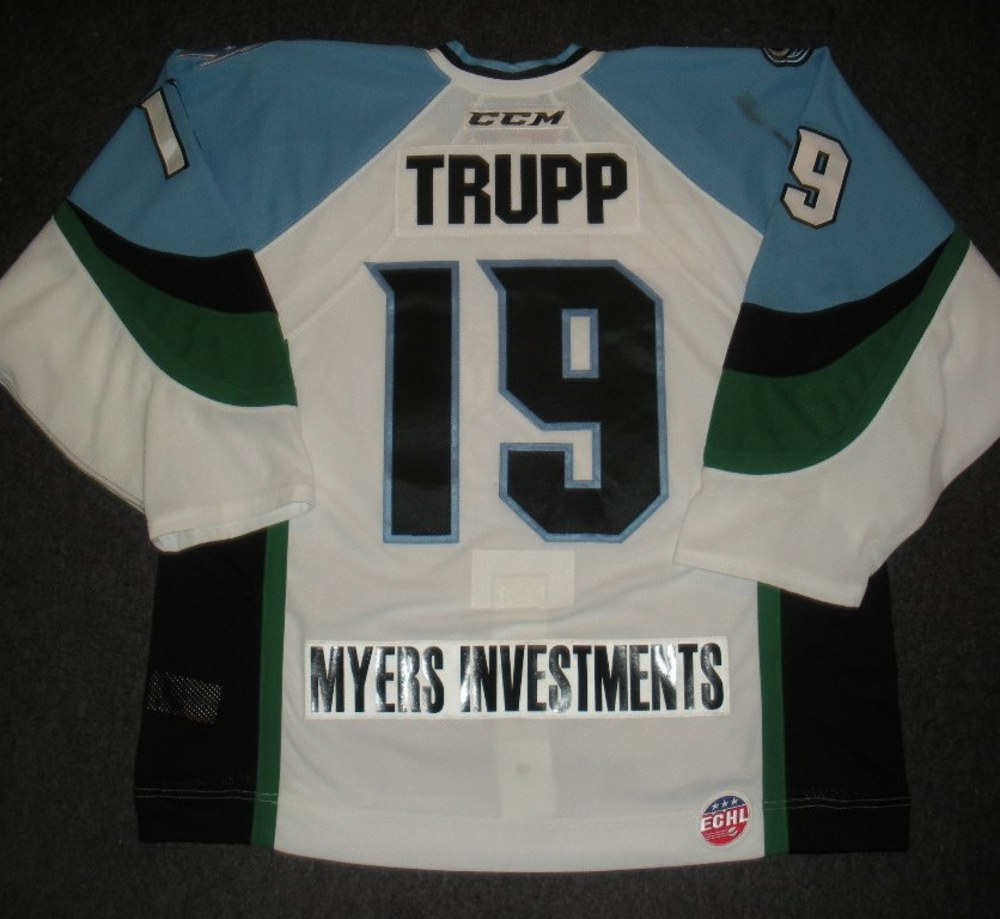 Evan Trupp - 2014 Kelly Cup Finals - Alaska Aces - White Game-Worn Jersey - Games 1 & 2
