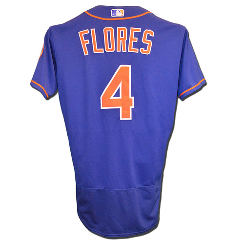 Photo of Wilmer Flores #4 - Game Used Blue Alternate Home Jersey - Flores Goes 1-4 Hits 15th HR of 2017, 2 RBI - Mets vs. Marlins - 8/19/17