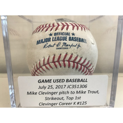 Photo of Game-Used Baseball: Mike Clevinger Strikeout (Mike Trout), Career K #125