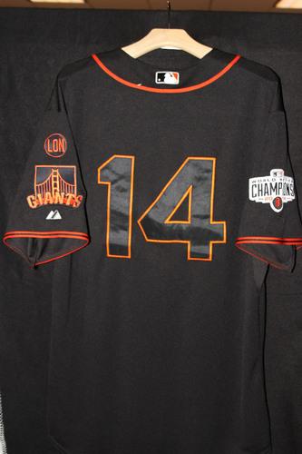 Photo of San Francisco Giants Casey McGehee Game-Used Home Black Alternate Jersey - May 2nd, 2015 vs. the Los Angeles Angels