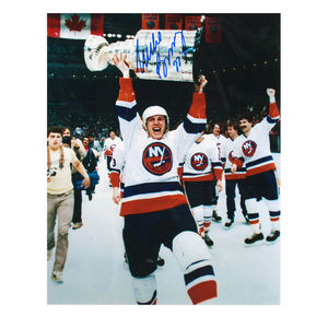 MIKE BOSSY Signed New York Islanders 8 X 10 Photo with Stanley Cup - 70360