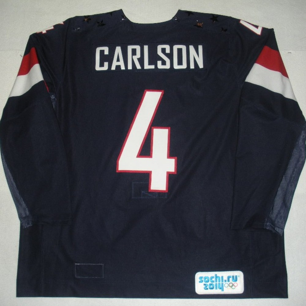 John Carlson - Sochi 2014 - Winter Olympic Games - Team USA Blue Game-Worn Jersey - Bronze Medal Game vs. Finland, 2/22/14