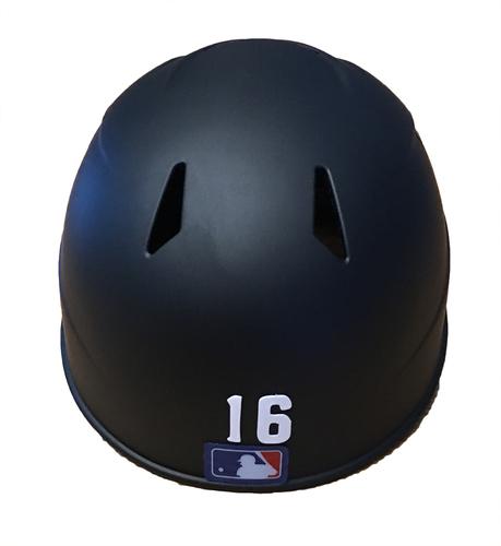 Photo of Brandon Hyde Game-Used Chicago Leland Giants Batting Helmet -- Cubs vs. Pirates -- 6/16/17