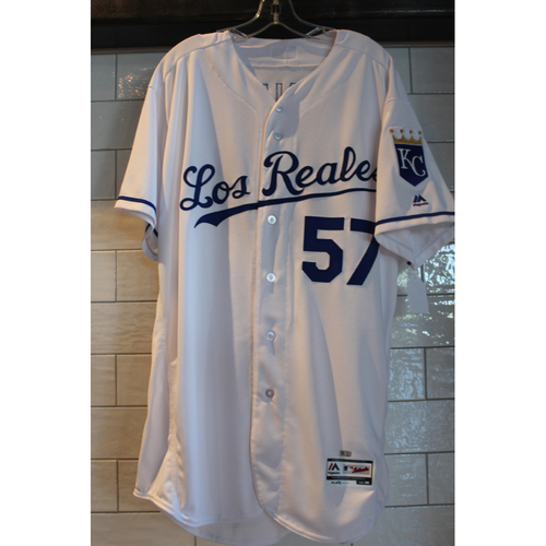 Photo of Game-Used Doug Henry Los Reales jersey (6/24/17 TOR at KC) (Size 50)