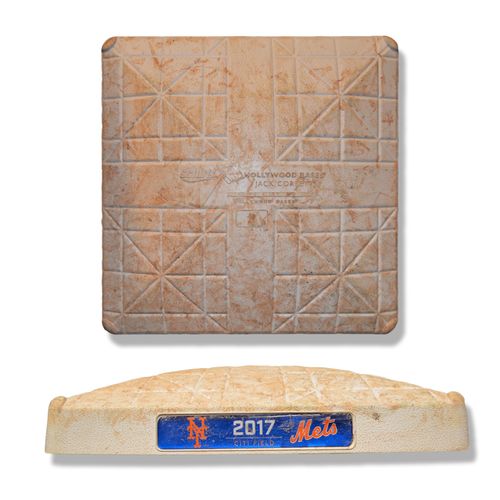 Game Used Base - Amed Rosario's Citi Field Debut - 1st Base; Innings 1-3 - Mets vs. Dodgers - 8/4/17