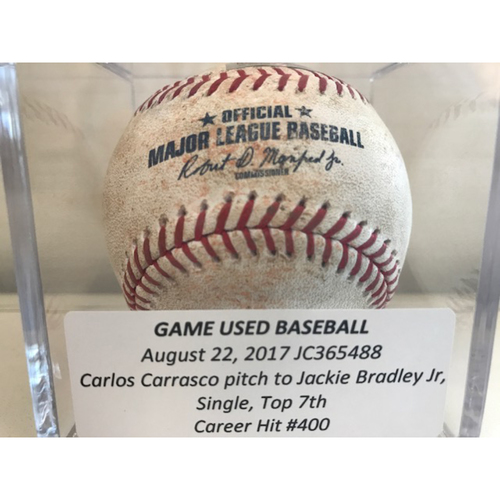Photo of Game-Used Baseball: Jackie Bradley Jr. Single, Career Hit #400