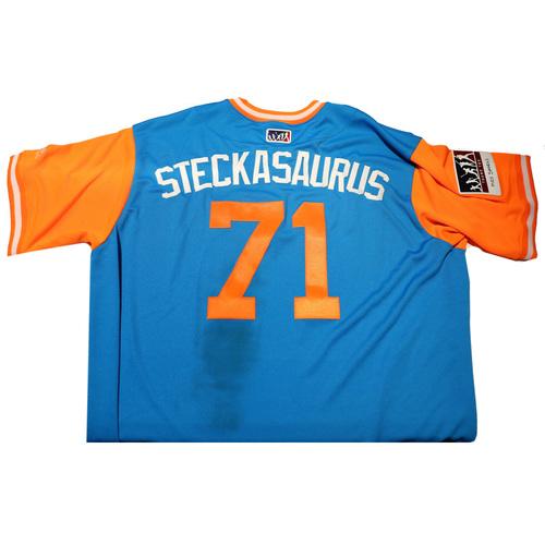 "Photo of Dan ""Steckasaurus"" Steckenrider Miami Marlins Game-Used Players Weekend Jersey"
