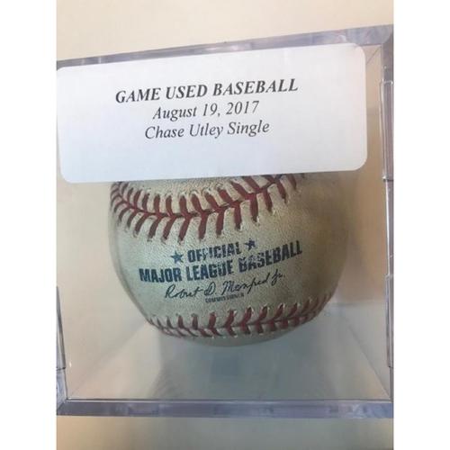 Game-Used Baseball: Chase Utley Single
