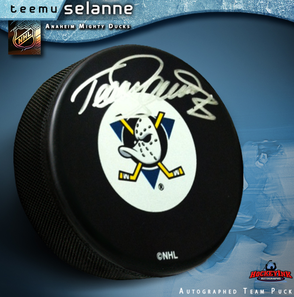 TEEMU SELANNE Signed Anaheim Mighty Ducks Puck