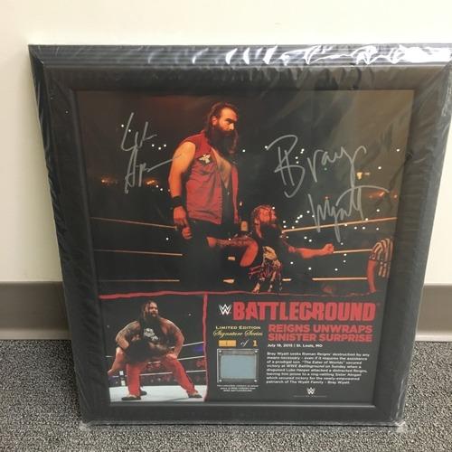 Photo of Bray Wyatt & Luke Harper SIGNED Battleground 2015 Ring Canvas Plaque