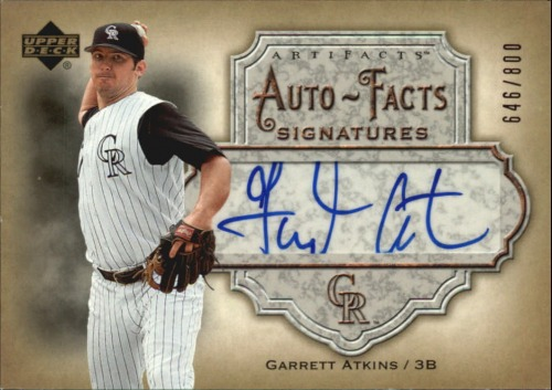 Photo of 2006 Artifacts Auto-Facts Signatures #GA Garrett Atkins/800