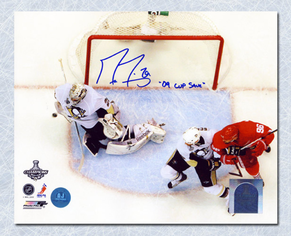 Marc-Andre Fleury Pittsburgh Penguins Autographed Cup Final Game Save 8x10 Photo