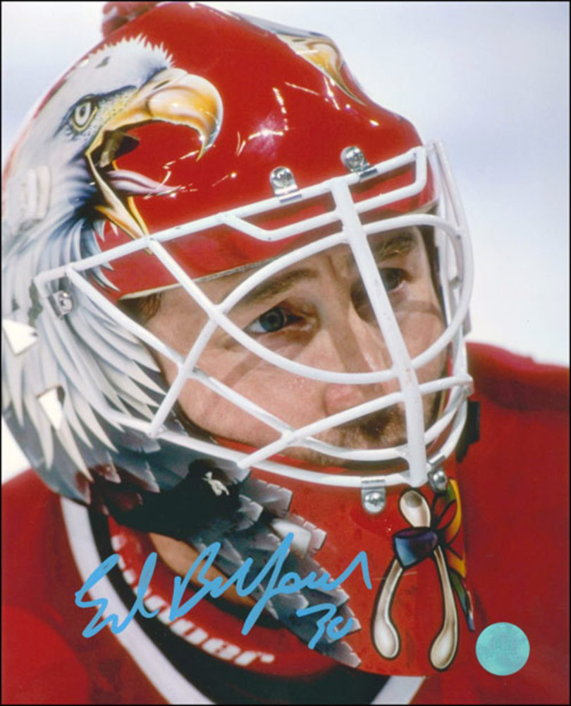 ED BELFOUR Autographed Chicago Blackhawks 8x10 Eagle Mask Photo