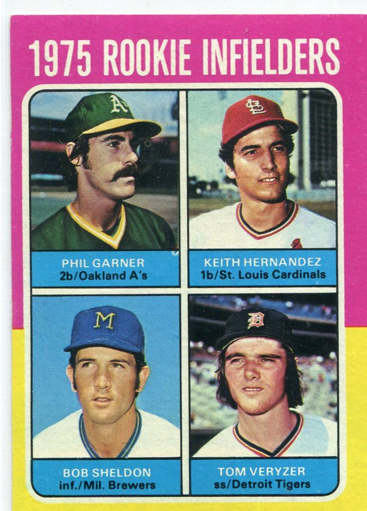 1975 Topps #623 Rookie Infielders/Phil Garner RC/Keith  Hernandez RC/(UER Sic, bats right)/Bob Sheld