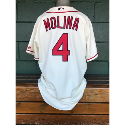 Photo of Cardinals Authentics: Yadier Molina Tam-Issued Saturday Alternate Ivory Jersey