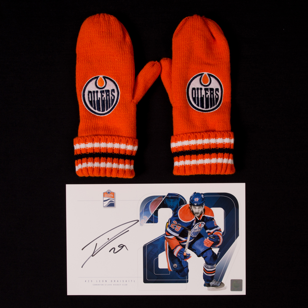 Leon Draisaitl #29 - Autographed Edmonton Oilers Player Card And Pair Of Hockey Fights Cancer Mittens