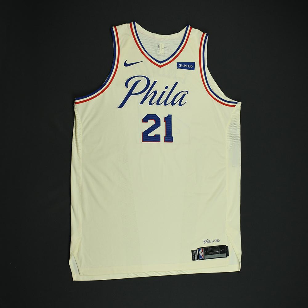 Joel Embiid - Philadelphia 76ers - Game-Worn 2nd Half Only 'City' Jersey - Worn During 2 Games - Recorded 2 Double-Doubles - 2018 NBA Playoffs