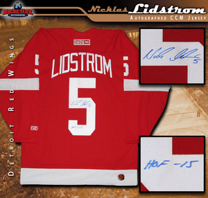 NICKLAS LIDSTROM Signed Detroit Red Wings Red CCM Jersey with HOF 15 Inscription