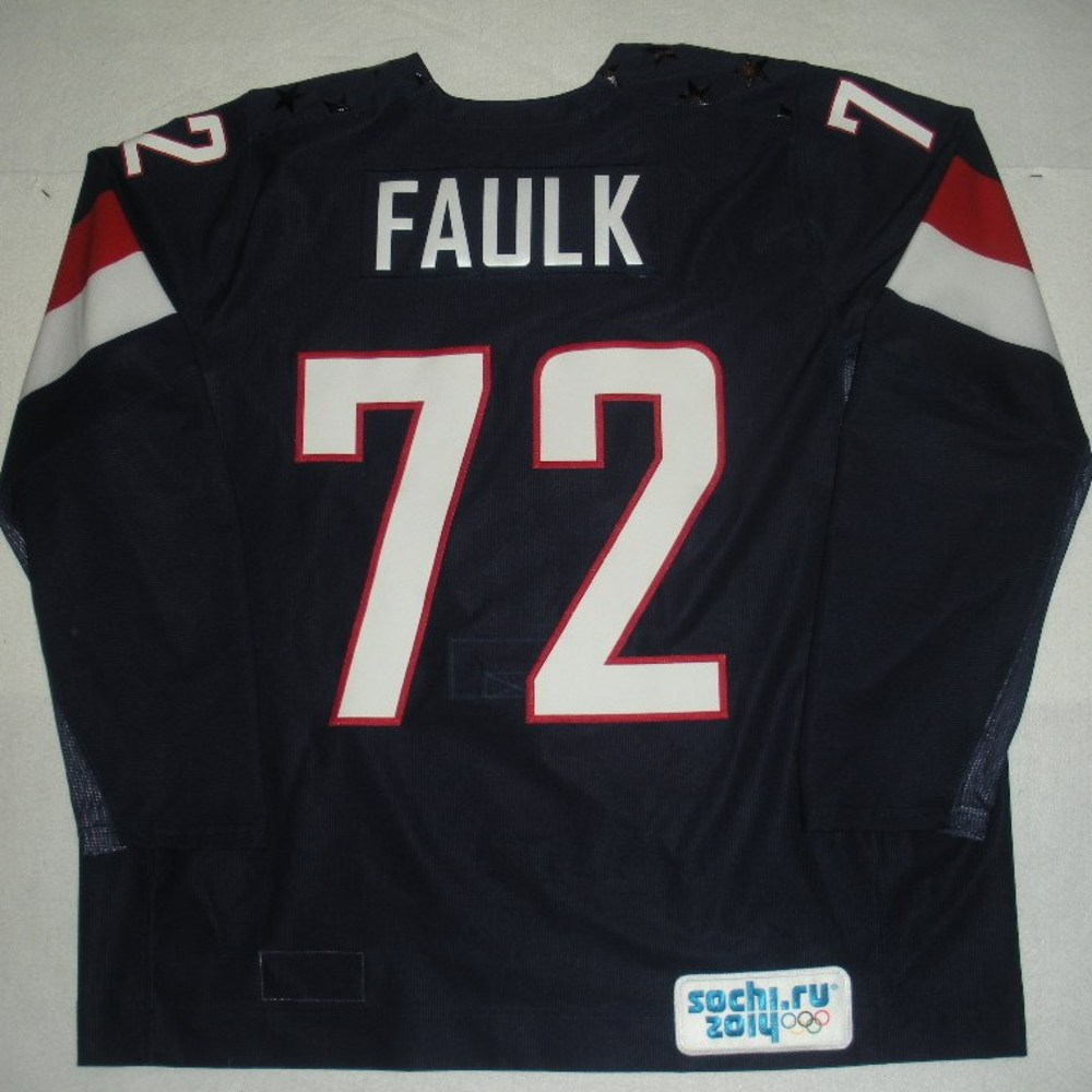 Justin Faulk - Sochi 2014 - Winter Olympic Games - Team USA Blue Game-Worn Jersey - Bronze Medal Game vs. Finland, 2/22/14