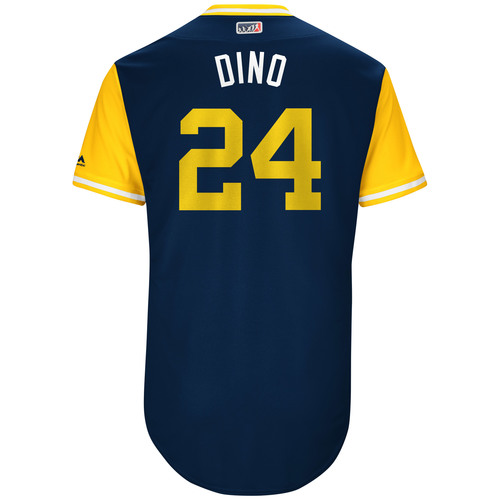 """Photo of Jesus """"Dino"""" Aguilar Milwaukee Brewers Game-Used Players Weekend Jersey"""