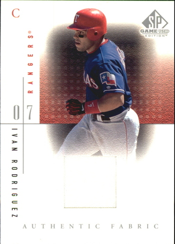 Photo of 2001 SP Game Used Edition Authentic Fabric #IR Ivan Rodriguez