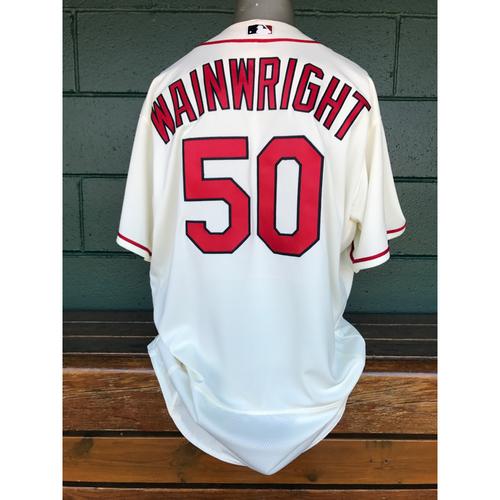 Photo of Cardinals Authentics: Adam Wainwright Team-Issued Saturday Alternate Ivory Jersey