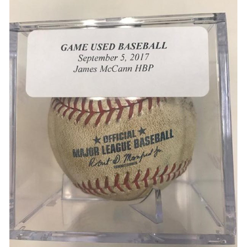 Photo of Game-Used Baseball: James McCann Hit by Pitch