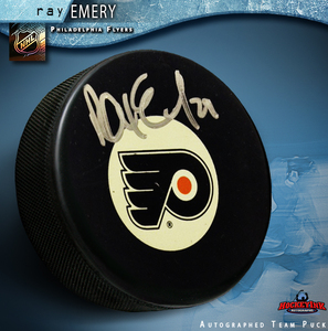 RAY EMERY Signed Philadelphia Flyers Puck