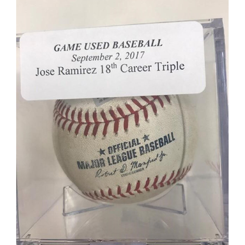 Photo of Game-Used Baseball: Jose Ramirez 18th Career Triple