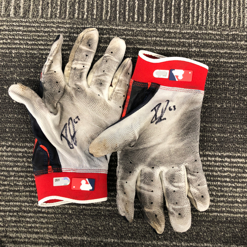 Photo of San Francisco Giants - HOLIDAY STEALS - Autographed Red, White & Blue Batting Gloves - #63 Ryder Jones