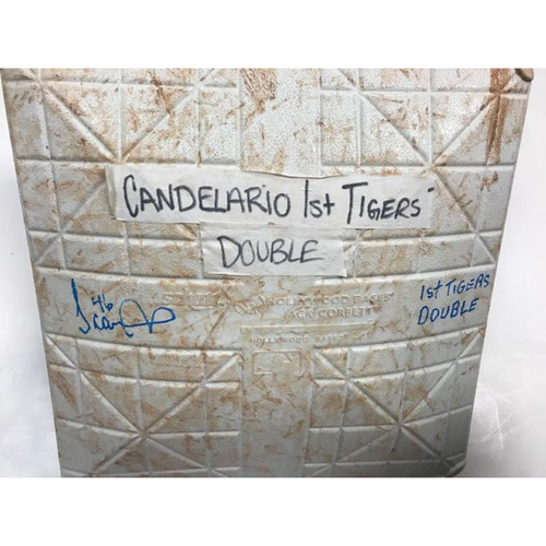 Photo of Autographed Game-Used Base: Jeimer Candelario's 1st Double as a Detroit Tiger