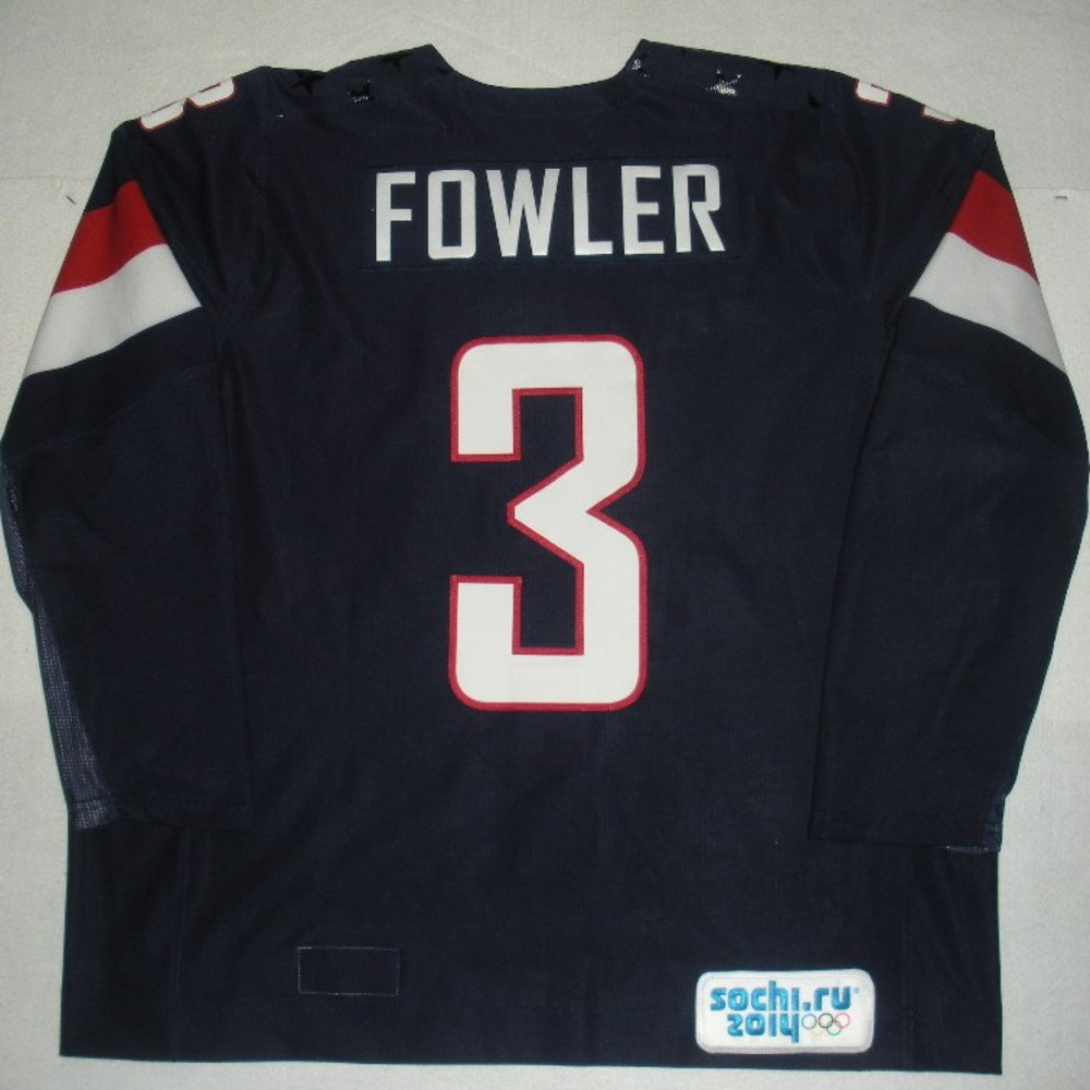 Cam Fowler - Sochi 2014 - Winter Olympic Games - Team USA Blue Game-Worn Jersey - Bronze Medal Game vs. Finland, 2/22/14