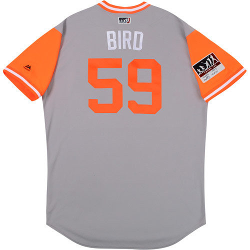 """Photo of Mike """"Bird"""" Wright Baltimore Orioles Game-Used Players Weekend Jersey"""