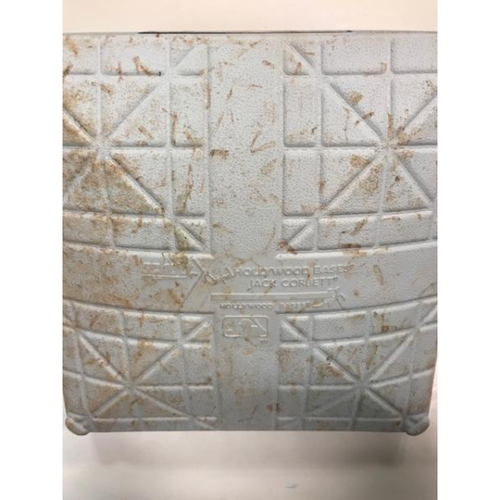 Photo of Game-Used Base: Justin Verlander Pitches a No-Hitter Into 9th Inning on May 18, 2012